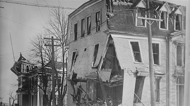 Explosion aftermath: St. Joseph's Convent, located on the southeast corner of Göttingen and Kaye streets. Thousands of homes and buildings were flattened outright or damaged beyond repair.