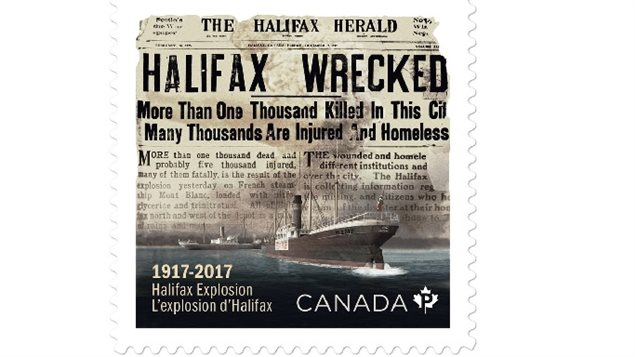 The just released Canada Post postage stamp commemorating the catastrophe of 100 years ago showing the Imo heading for the fully loaded munitioins ship at Halifax