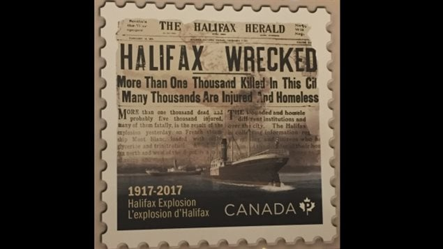 The newly released postage stamp commemoratiing the terrible disaster of the Halifax Explosion, 100 years ago next month.