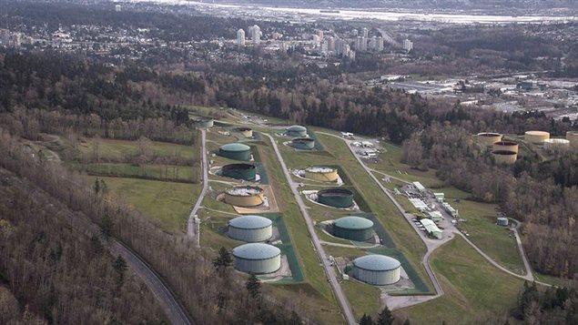 Kinder Morgan Trans Mountain oil storage tank farm is seen in Burnaby, B.C
