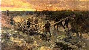 Canadian gunners struggle to free an 18pdr field gun which has sunk into mud
