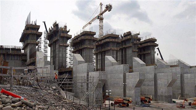 Le chantier de construction du barrage hydroélectrique de Muskrat Falls, à Terre-Neuve-et-Labrador. Archives de 2015.