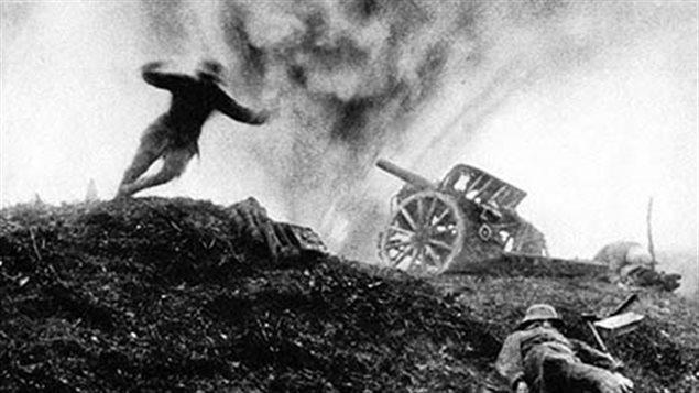Explosión de un obús durante la Primera Guerra Mundial