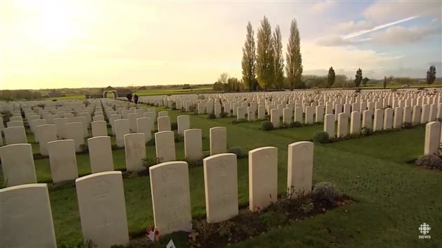 A small portion of Tyne Cot cemetary near Passchendaele village. A great many of the graves are of soldiers who couldn't be identified.