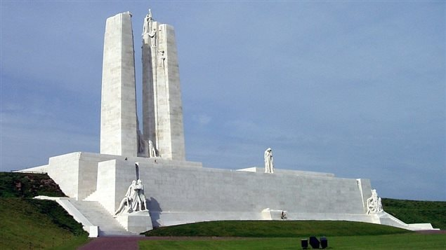 The impressive and moving Canadian war memorial at Vimy France. The mostly Canadian battle gave the Allies their first major success in the terrible war .