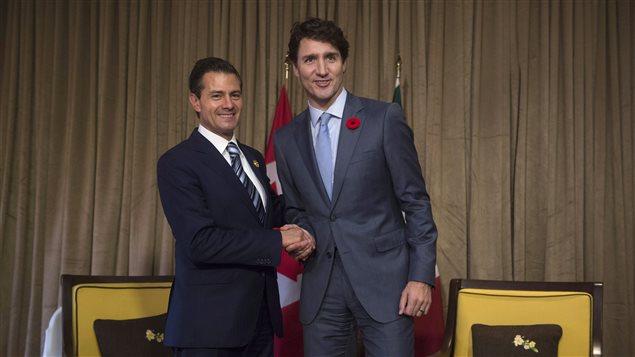 Enrique Peña Nieto, presidente de México y Justin Trudeau, primer ministro de Canadá.