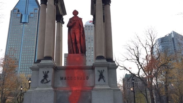 he John A. Macdonald statue in downtown Montreal was vandalized overnight.