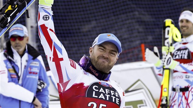 On December 29, 2015 David Poisson celebrated his third place after competing in a World Cup downhill race in Santa Caterina Valfurva, Italy.