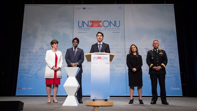 Prime Minister Justin Trudeau, centre, responds to questions as Minister of International Development Marie-Claude Bibeau, from left to right, Defence Minister Harjit Sajjan, Minister of Foreign Affairs Chrystia Freeland and General Jonathan H. Vance, Chief of the Defence Staff, listen during a news conference at the 2017 United Nations Peacekeeping Defence Ministerial conference in Vancouver, B.C., on Wednesday November 15, 2017.