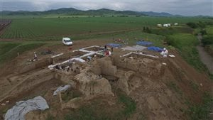 A photograph taken by a drone of excavations at the Gadachrili Gora site in southeastern Georgia.