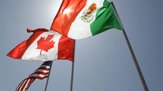 أعلام دول اميركا الشماليّة  الثلاث، المكسيك وكندا والولايات المتّحدة