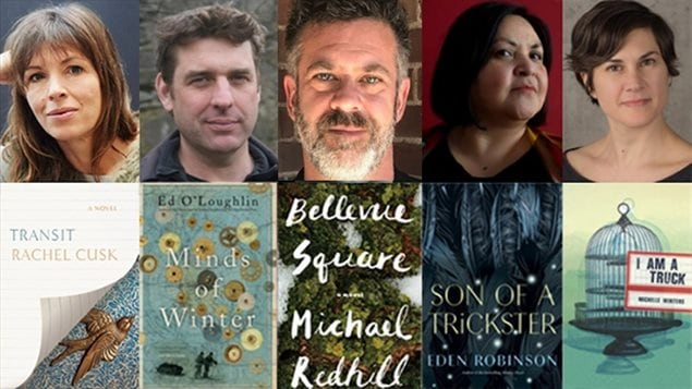 The nominees for the 2017 Scotiabank Giller prize were from left: Rachel Cusk, Ed O'Loughlin, Michael Redhill, Eden Robinson and Michelle Winters.