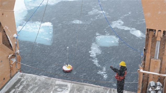 A seasonal ice beacon floats in the Arctic after a research team deploys it from the ice breaker, the USCGC Healy.