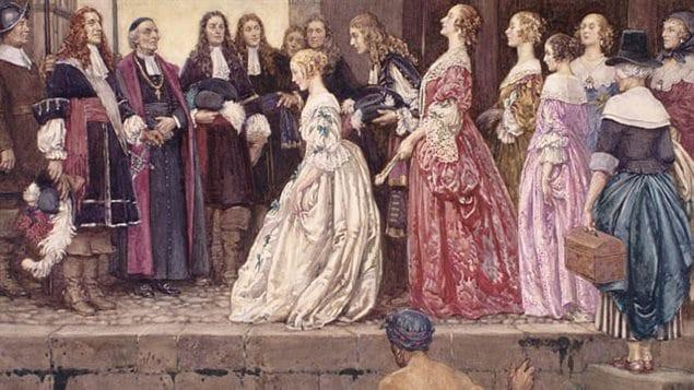 L'arrivée des Filles du Roi en 1667, dans le but de marier des colons canadiens. Jean Talon, intendant de la Nouvelle-France, et Mgr François de Montmorency-Laval, évêque de Québec, les attendent.