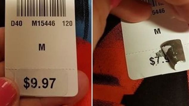 When she peeled off the sticker, Elizabeth MacMillan discovered a T-shirt Sears currently priced at $9.97 had previously been priced at $7.97. (Elizabeth MacMillan/Facebook)