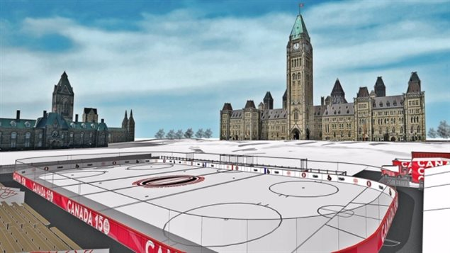 Artistic rendering of what the final rink will look like with parlaments *West Block* (L) and ?Centre Block with the Victory and Peace Tower (R( Not shown is the EAst Block