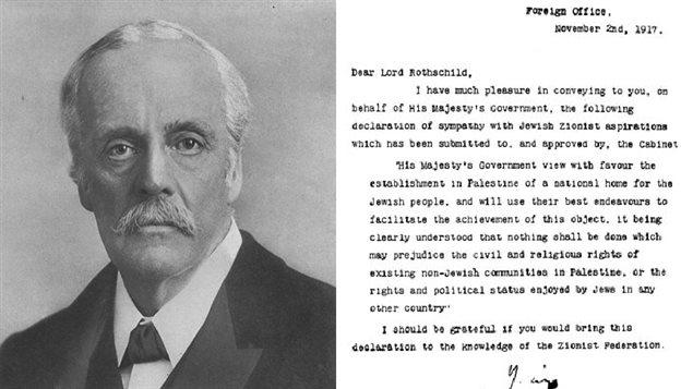 وزير الخارجية البريطاني آرثر بلفور وصورة عن الرسالة التي وجهها للورد ليونيل وُولتر روتشيلد والتي تُعرف بـ