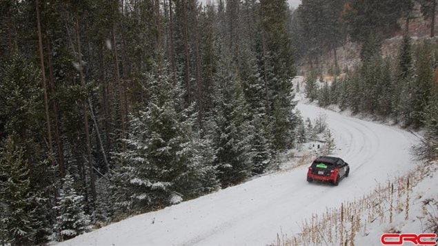 Subaru Crosstrek with Brandon Semenuk and John Hall were 30 seconds back with 60km to go