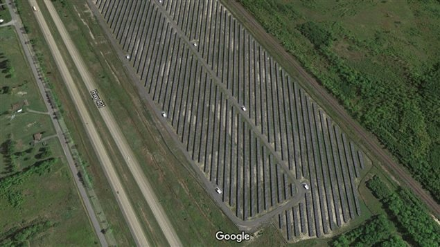 A huge field near Cornwall Ontario along the main 401 highway with acres of solar panels. Ontario pushed solar adoption with an expensive programme and now produces more power than it needs. Many say the cost of power should come down rather than sell excess to the U.S at a loss