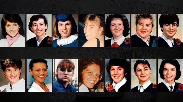 Photos of the 14 women shot to death on Dec. 6, 1989.