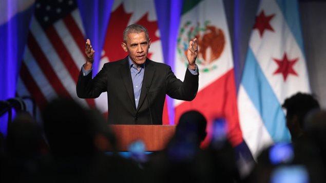 L'ancien président américain Barack Obama a prononcé une allocution à la conférence «Cities for Climate», mardi, à Chicago.