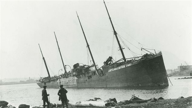 Imo was carried across the narrow both by the force of the blast and the tsunami created.: Shown here on the Darmouth side.