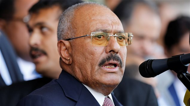Yemen's former President Ali Abdullah Saleh addresses a rally held to mark the 35th anniversary of the establishment of his General People's Congress party in Sanaa, Yemen August 24, 2017.