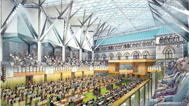 An artist's rendering of the temporary House of Commons chamber, in the West Block, to open next fall. The new chamber has been fitted with a extra booth that can be used for simultaneous interpretation of Indigenous languages used by MPs.