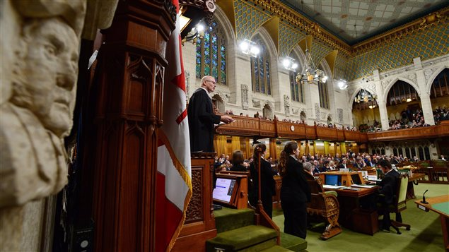Speaker of the House of Commons Geoff Regan speaks for the 150th anniversary of the first meeting of the first Parliament of Canada as leaders rise to deliver statements in the House of Commons on Parliament Hill, in Ottawa on Monday, Nov. 6, 2017.
