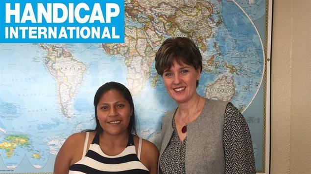 Aidé Rocío Arias en compañía de Marie-Claude Bibeau, ministra canadiense de Desarrollo Internacional y de la Francofonía.