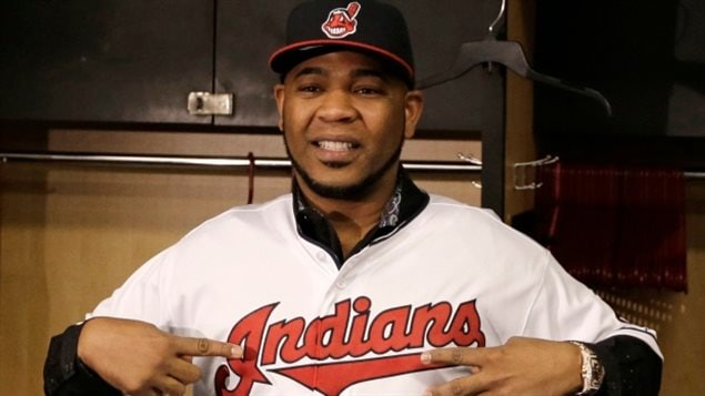 Jan 5/17: Edwin Encarnacion shows off his new Cleveland Indians jersey after finalizing his three-year, $60-million US deal. An Ontario Human Rights Tribunal has agreed to hear a case against the team name as being *racist*, The team is in court to block the Tribunal saying its overstepping its bounds
