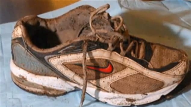 One of the running shoes that was found with the foot still inside. Since 2007, now 13 shoes have washed ashore in British Columbia.