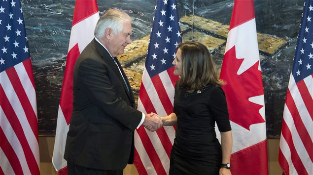 Foreign Affairs Minister Chrystia Freeland shakes hands with U.S. Secretary of State Rex Tillerson in Ottawa, Tuesday December 19, 2017.