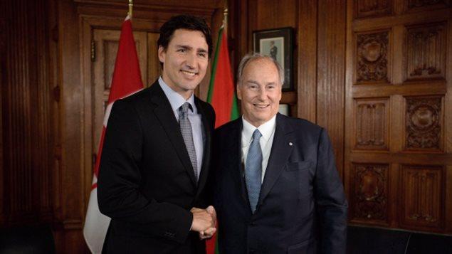 El Primer Ministro Justin Trudeau junto con el Aga Khan.