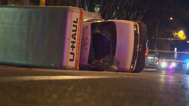 Oct 1,2017:  A rental van lies on its side in Edmonton after an attempted ramming attack, after the driver stabbed a policeman. Five people were injured. A Somali refugee,Abdulahi Hasan Sharif, 30, who came to Canada in 2012, has been charged