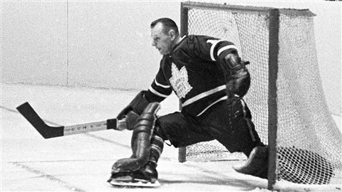 Bower makes a kick save during a playoff action against the Canadiens in Montreal in 1966. Bower won two Vezina Trophies as the NHL's best goalie, in 1961 and 1965.