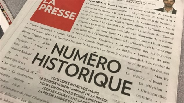 The front page of La Presse's final print edition, published on Saturday.