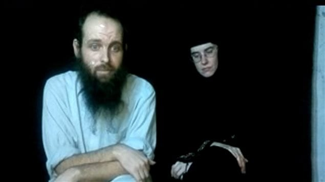 This frame grab from video provided by the Coleman family shows Caitlan Coleman and Joshua Boyle.
