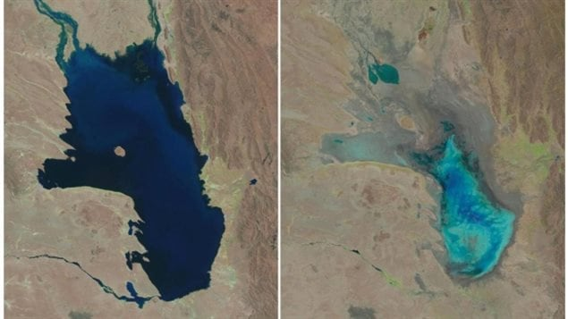 Oct, 11, 1986, left, and almost dry on Jan. 16, 2016, right, in Bolivia. The lake has been dried twice in the past and recovered, but scientists say as the Andean glaciers feeding the lake disappear, and human activity diverts water, the lake may never recover this time.