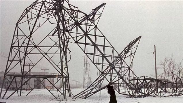Freezing rain dumped ice over the province of Quebec in 1998 toppling electrical pylons and causing a massive power failure.