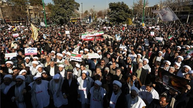 Jeudi, la télévision d'État a diffusé des images de manifestations importantes de soutien au pouvoir à Ispahan (photo), Machhad, Oroumieh, Babol ou encore Ardebil.MORTEZA SALEHI, AFP