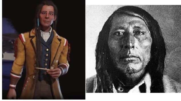 Chief Poundmaker as portrayed in the video game, and an actual photo of the Cree leader