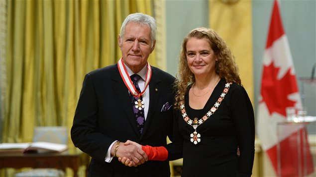 Canada's Governor General Julie Payette presented the insignia of the Order of Canada to Alex Trebek in Ottawa on November 17, 2017.