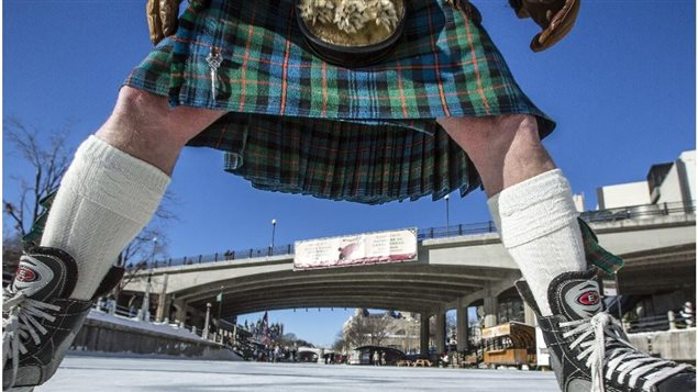 The Great Canadian Kiltskate events are about to begin for 2018. Originating in Ottawa on the Rideau Canal in 2015 (shown), events are now held in several cities across Canada for those willing to brave chilly knees for a few hours of fun and entertainment.