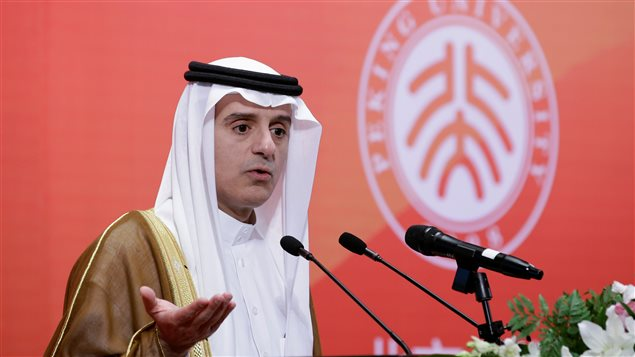 Minister of Foreign Affairs of the Kingdom of Saudi Arabia, Adel al-Jubeir gives a speech at Peking University in Beijing, China, August 31, 2016.