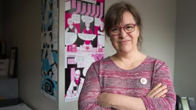 Dec 2017: Gabrielle Bouchard, seen in her office is the first trans woman to lead Quebec's main woman's rights organization.