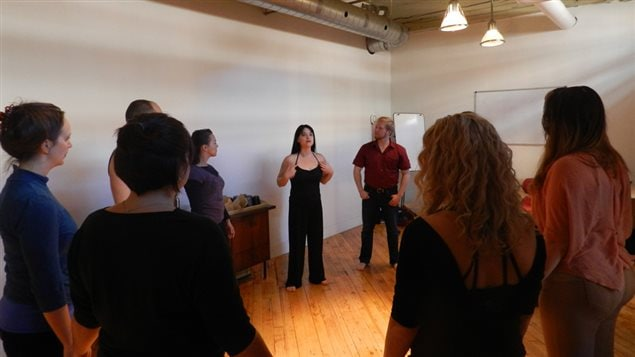 Intimacy for the Stage for Performers Workshop, November 2016.   Centre—Tonia Sina, Creator of the Intimacy For The Stage method;  to her left: Andrew Hodwitz, participant