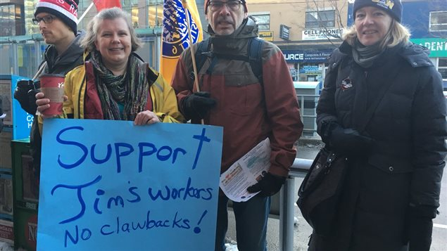 Several unions are organising and taking part in the protests against Tim Horton's owners, often seen as the rich owners protecting profits on the backs of low wage workers.