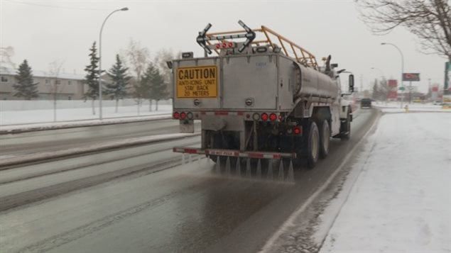 Trucks spread different forms of road salt which can dissolve and run into sewers and eventually, waterways.