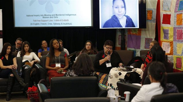 The family of Nicole Daniels speaks at the opening day of hearings at the National Inquiry into Missing and Murdered Indigenous Women and Girls in Winnipeg, on Oct. 16, 2017. Delays, missteps, and high turnover have lead to repeated criticism of the inquiry's management.